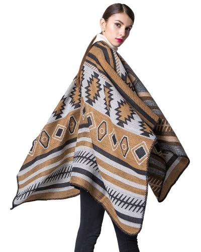 Women Poncho Scarf Cardigan Sweater Geometrical Print WarmApparel &amp; Jewelry<br>Women Poncho Scarf Cardigan Sweater Geometrical Print Warm<br>
