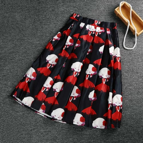 Vintage Print Color Block High Waist A-line Midi Skirt for WomenApparel &amp; Jewelry<br>Vintage Print Color Block High Waist A-line Midi Skirt for Women<br>