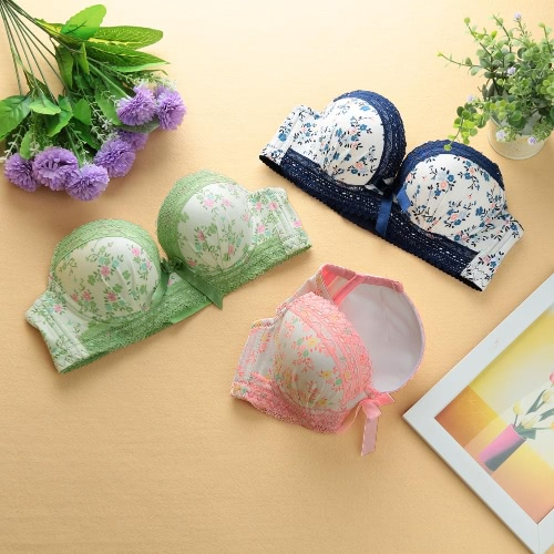 Sexy Women Girls Bra Floral Print Lace Bow 3/4 Cups Push Padded Adjustable Straps Underwire Lingerie Underwear Pink/Green/BlueApparel &amp; Jewelry<br>Sexy Women Girls Bra Floral Print Lace Bow 3/4 Cups Push Padded Adjustable Straps Underwire Lingerie Underwear Pink/Green/Blue<br>