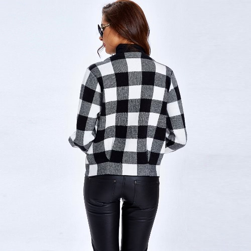 New Winter Women Knitted Coat Sweater Cardigan Contrast color Plaid O-Neck Pocket Long Sleeve Short Coat Outerwear Sweater Tops ReApparel &amp; Jewelry<br>New Winter Women Knitted Coat Sweater Cardigan Contrast color Plaid O-Neck Pocket Long Sleeve Short Coat Outerwear Sweater Tops Re<br>