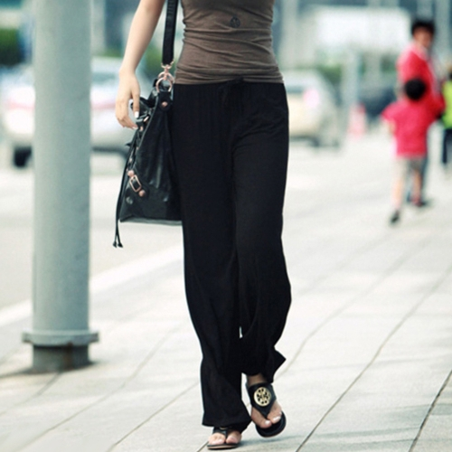 Winter Woman Loose Wide Leg Pants Solid High Elastic Waist Elegant Casual Solid TrousersApparel &amp; Jewelry<br>Winter Woman Loose Wide Leg Pants Solid High Elastic Waist Elegant Casual Solid Trousers<br>