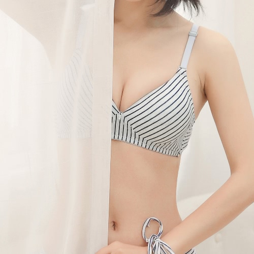 Women Striped Wireless Bra Cotton Thin Padded Push Up Back Closure Bra BrassiereApparel &amp; Jewelry<br>Women Striped Wireless Bra Cotton Thin Padded Push Up Back Closure Bra Brassiere<br>