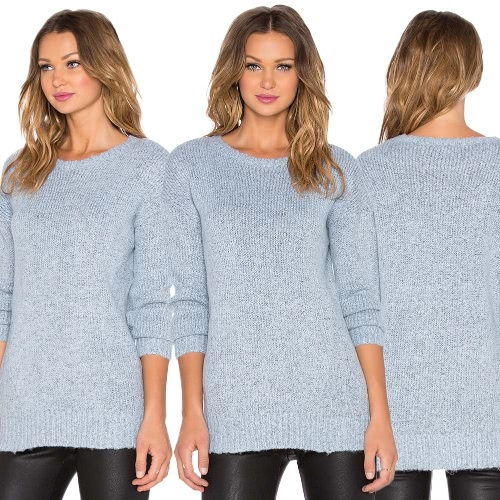 Women Knitted Pullover Sweaters Drop Shoulder O Neck Ribbed Jumpers Knitting Top Light Blue