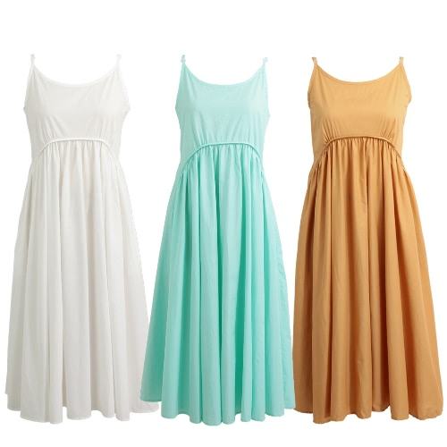 Women Cami Long Dress Sleeveless Pockets Adjustable Spaghetti Straps Wide Hem Solid Maxi Beach DressApparel &amp; Jewelry<br>Women Cami Long Dress Sleeveless Pockets Adjustable Spaghetti Straps Wide Hem Solid Maxi Beach Dress<br>