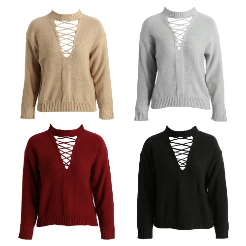 Women Knitted Hollow Out Pull Over Sweater Lace Up Dropped Shoulder Long Sleeve Knit Crop TopApparel &amp; Jewelry<br>Women Knitted Hollow Out Pull Over Sweater Lace Up Dropped Shoulder Long Sleeve Knit Crop Top<br>