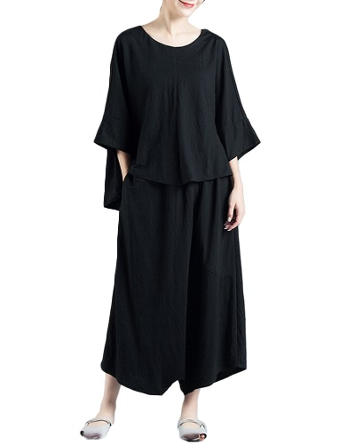Women Loose Two-Piece Top Wide Leg Trousers Solid High-Low Hem Batwing Sleeves Casual Blouse PantsApparel &amp; Jewelry<br>Women Loose Two-Piece Top Wide Leg Trousers Solid High-Low Hem Batwing Sleeves Casual Blouse Pants<br>