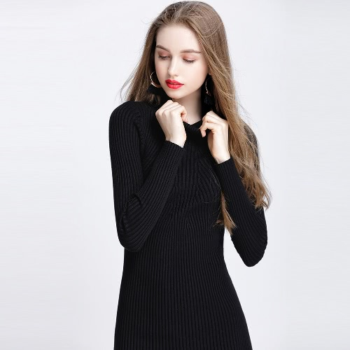 Women Autumn Winter Sweater Dress Slim Turtleneck Sexy Bodycon Solid Color Casual Knitted DressApparel &amp; Jewelry<br>Women Autumn Winter Sweater Dress Slim Turtleneck Sexy Bodycon Solid Color Casual Knitted Dress<br>