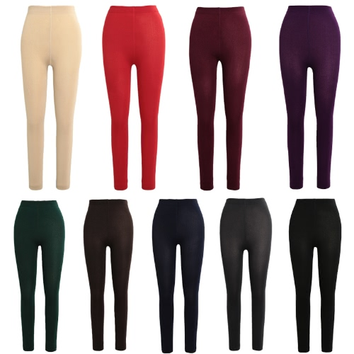 Sexy Women Autumn Winter Leggings Solid High Elastic Waist Thick Warm Tights Bodycon Pants