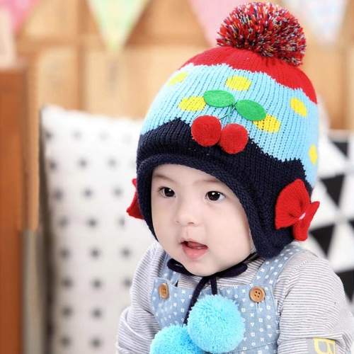 Baby Kids Knitted Hat Cute Cherry Bowknot Fleece Earflap Hat Children Pompom CapApparel &amp; Jewelry<br>Baby Kids Knitted Hat Cute Cherry Bowknot Fleece Earflap Hat Children Pompom Cap<br>