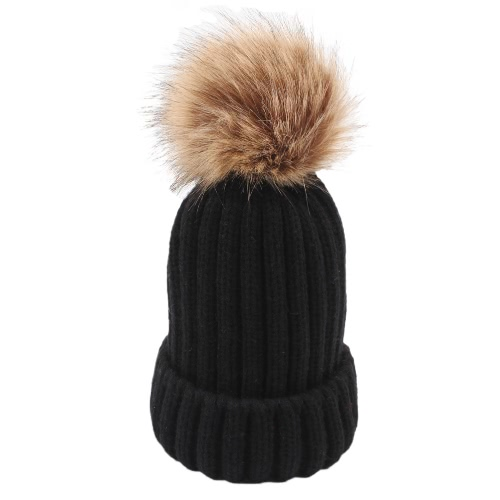 Kid Girl Thickening Knitted Beanies Hat Dome Autumn Winter Cap Warm Hat Headwear With Ball Of FluffApparel &amp; Jewelry<br>Kid Girl Thickening Knitted Beanies Hat Dome Autumn Winter Cap Warm Hat Headwear With Ball Of Fluff<br>