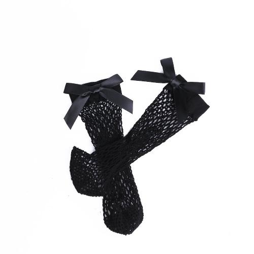 Las mujeres atractivas Harajuku Bow Knot Fishnet Socks Malla transpirable Ahueca hacia fuera Net Tobillo Calcetines Sokken Negro