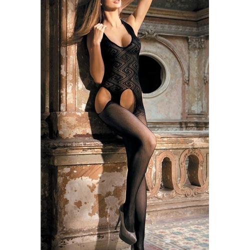 Sexy Women Sheer Lingerie Bodysuit Mesh Crotchless Body Stocking Halter Cut Out Babydoll Tights Underwear Nightwear Black