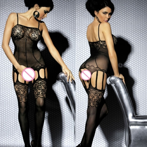 Sexy Women Sheer Intimate Body Stockings Lace Detail Open Crotch Hollow Out Jumpsuits Lingerie Underwear Nightwear Black