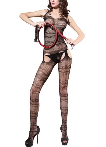 Sexy Women Hollow Out Fishnet Lingerie Body Stocking Crotchless Bodysuit Nightwear Babydoll Black
