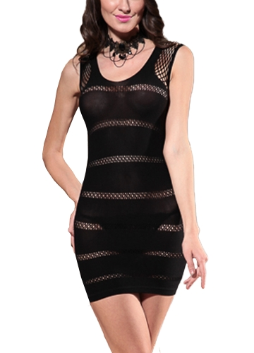 Sexy Women See-Through Lingerie Dress Hollow Out Mesh Babydoll Erotic Nightdress Black