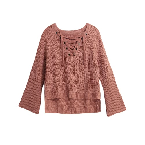 Flare Sleeve Knitted Sweater Women Lace Up V-Neck Pullover Sexy Jumper Casual Loose Split KnitwearApparel &amp; Jewelry<br>Flare Sleeve Knitted Sweater Women Lace Up V-Neck Pullover Sexy Jumper Casual Loose Split Knitwear<br>