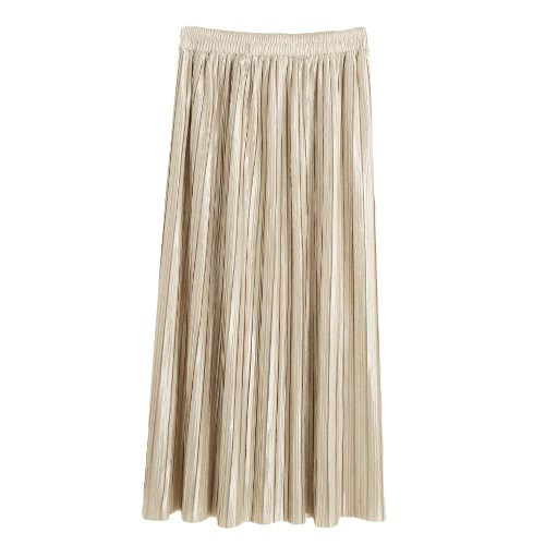 New Brief Europe Pleated Skirt Solid Color High Waist Elasticated Waistband Lined Midi SkirtApparel &amp; Jewelry<br>New Brief Europe Pleated Skirt Solid Color High Waist Elasticated Waistband Lined Midi Skirt<br>