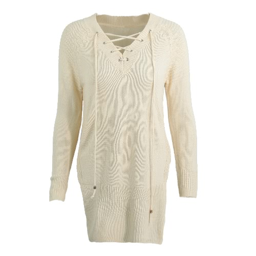 Women Knitted Sweater Solid V Neck Lace UP Side Splits Long Sleeve Longline Casual Tops Black/Pink/BeigeApparel &amp; Jewelry<br>Women Knitted Sweater Solid V Neck Lace UP Side Splits Long Sleeve Longline Casual Tops Black/Pink/Beige<br>