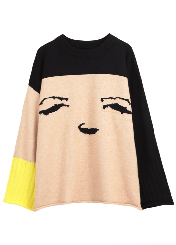 Autumn Winter Women Loose Sweater Smile Emoji O-Neck Contrast Knitted Sweater Pullover Jumper Tops BeigeApparel &amp; Jewelry<br>Autumn Winter Women Loose Sweater Smile Emoji O-Neck Contrast Knitted Sweater Pullover Jumper Tops Beige<br>