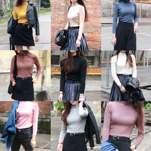 Women Knit Sweater Pullover Jumper Turtleneck Long Sleeve High Elastic Solid Slim Knitted TopsApparel &amp; Jewelry<br>Women Knit Sweater Pullover Jumper Turtleneck Long Sleeve High Elastic Solid Slim Knitted Tops<br>