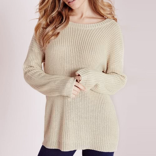 New Women Loose Knitted Sweater Solid Lace-Up O-Neck Long Sleeve Elegant Pullover Tops Knitwear BeigeApparel &amp; Jewelry<br>New Women Loose Knitted Sweater Solid Lace-Up O-Neck Long Sleeve Elegant Pullover Tops Knitwear Beige<br>