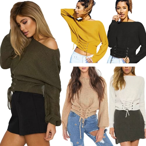Sexy Women Knitted Sweater Slash Neck Lace-Up Bandage Long Sleeve Casual Off Shoulder Pullover KnitwearApparel &amp; Jewelry<br>Sexy Women Knitted Sweater Slash Neck Lace-Up Bandage Long Sleeve Casual Off Shoulder Pullover Knitwear<br>