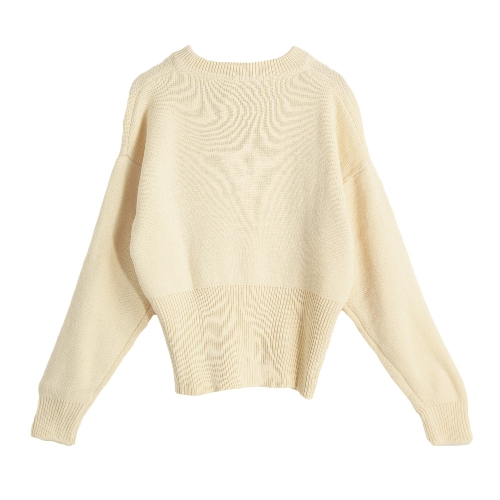 New Winter Women Lace-Up Knit Sweater V Neck Long Sleeves Ribbed Cuffs Hem Warm Pullover Knitwear