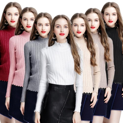 Women Ribbed Knitted Pullover Sweaters Turtle Neck Scalloped Solid Slim Stretchy Jumpers Knitting TopApparel &amp; Jewelry<br>Women Ribbed Knitted Pullover Sweaters Turtle Neck Scalloped Solid Slim Stretchy Jumpers Knitting Top<br>