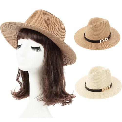 Fashion Unisex Sun Hat Straw Hat Solid Wide Brim Metal Belt Summer Sunbonnet Beach Panama Hat Brown/BeigeApparel &amp; Jewelry<br>Fashion Unisex Sun Hat Straw Hat Solid Wide Brim Metal Belt Summer Sunbonnet Beach Panama Hat Brown/Beige<br>