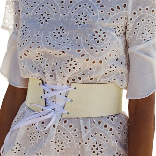 Las nuevas mujeres de la PU de la vendimia de la cintura cinturón de cuero con cordones cintura de la pretina de la correa blanco / rosa