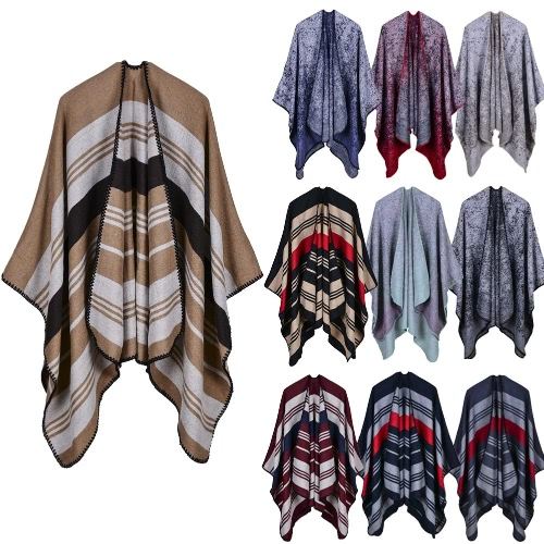 New Women Knitted Poncho Cape Stripe Gradient Oversized Cardigan Sweater Long Shawl Scarf Cashmere PashminaApparel &amp; Jewelry<br>New Women Knitted Poncho Cape Stripe Gradient Oversized Cardigan Sweater Long Shawl Scarf Cashmere Pashmina<br>