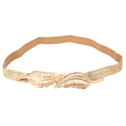 Vintage Women Belt Leaves Clasp Front Stretch Skinny Elastic Belt Waist Strap GoldApparel &amp; Jewelry<br>Vintage Women Belt Leaves Clasp Front Stretch Skinny Elastic Belt Waist Strap Gold<br>