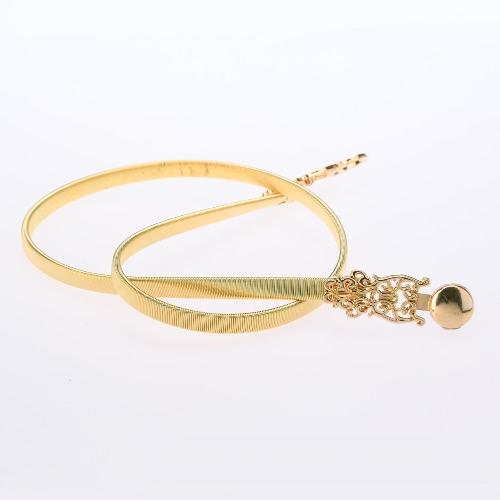 Nueva moda mujeres cintura cinturón cadena Metal dorado salida hueco elástico cinturón elegante delgada banda de oro
