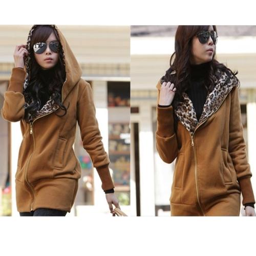 New Stylish Womens Leopard Hoodie Jacket Coat Outerwear Zips Longline Style BrownApparel &amp; Jewelry<br>New Stylish Womens Leopard Hoodie Jacket Coat Outerwear Zips Longline Style Brown<br>