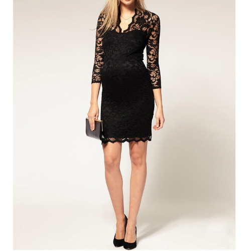 Womens Lace Dress Scalloped Neck 3/4 Sleeve Cocktail DressApparel &amp; Jewelry<br>Womens Lace Dress Scalloped Neck 3/4 Sleeve Cocktail Dress<br>
