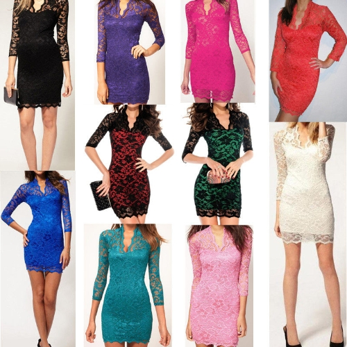 Womens Lace Dress Scalloped Neck Sexy Slim 3/4 Sleeve Cocktail DressApparel &amp; Jewelry<br>Womens Lace Dress Scalloped Neck Sexy Slim 3/4 Sleeve Cocktail Dress<br>