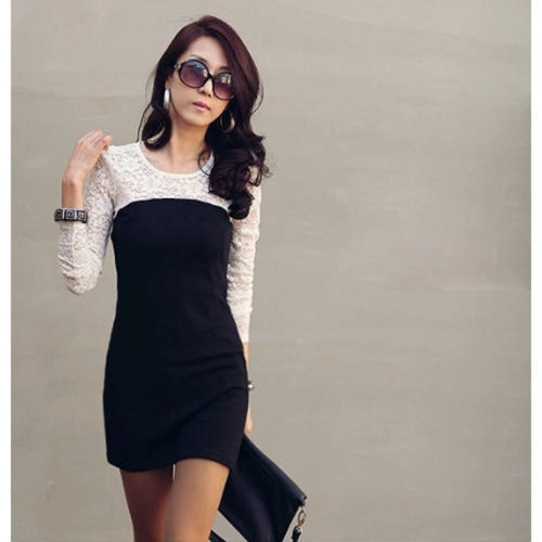 Sexy Womens Slim Round Neck Long Sleeve Lace Bodycon Mini DressApparel &amp; Jewelry<br>Sexy Womens Slim Round Neck Long Sleeve Lace Bodycon Mini Dress<br>