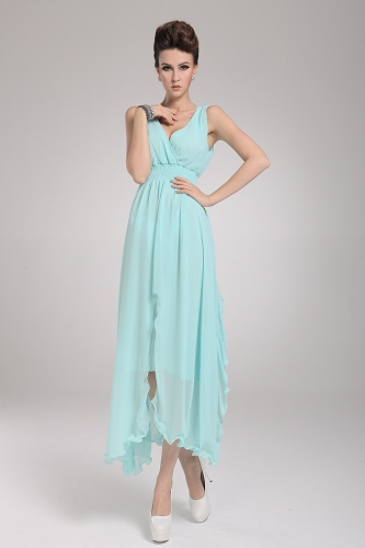 2013 New Beach Bohemian Womens Dress Chiffon V Neck Long Maxi Dress Ball Evening Party Sky BlueApparel &amp; Jewelry<br>2013 New Beach Bohemian Womens Dress Chiffon V Neck Long Maxi Dress Ball Evening Party Sky Blue<br>