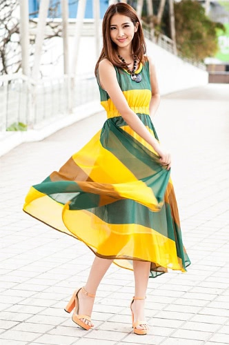 Fashion Bohemian Women Lady Dress Chiffon Chromatic Stripe Asymmetric O-Neck Sleeveless Summer Beach YellowApparel &amp; Jewelry<br>Fashion Bohemian Women Lady Dress Chiffon Chromatic Stripe Asymmetric O-Neck Sleeveless Summer Beach Yellow<br>