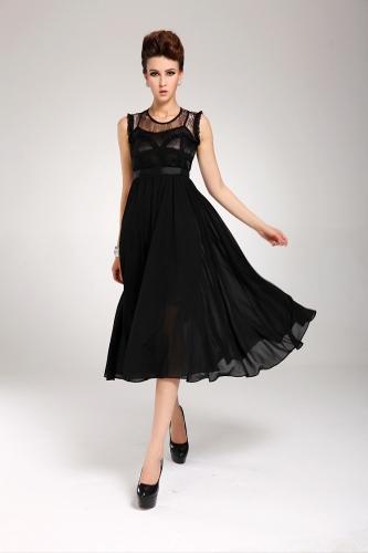New Elegant Womens Dress Chiffon Lace Sleeveless Long Ball Gown Evening Dress BlackApparel &amp; Jewelry<br>New Elegant Womens Dress Chiffon Lace Sleeveless Long Ball Gown Evening Dress Black<br>
