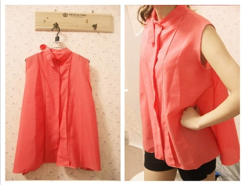 Fashion Summer Women Chiffon Shirt Sleeveless Stand Collar Tops Loose Retro Elegant Blouse Watermelon RedApparel &amp; Jewelry<br>Fashion Summer Women Chiffon Shirt Sleeveless Stand Collar Tops Loose Retro Elegant Blouse Watermelon Red<br>