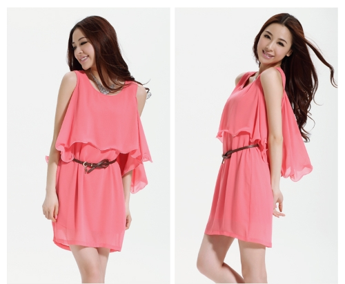 Sexy Career Women Ladies Chiffon Dress Batwing Sleeve Cutout Flounce Ruffles One-piece Mini Dress OL Casual PinkApparel &amp; Jewelry<br>Sexy Career Women Ladies Chiffon Dress Batwing Sleeve Cutout Flounce Ruffles One-piece Mini Dress OL Casual Pink<br>