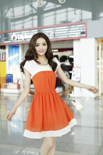 Mode coréenne femmes Mesdames en mousseline de soie robe pétale manchon bouton taille élastique Mini une pièce Orange