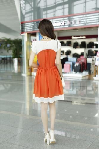Korean Fashion Women Ladies Chiffon Dress Petal Sleeve Button Elastic Waist Mini One-piece OrangeApparel &amp; Jewelry<br>Korean Fashion Women Ladies Chiffon Dress Petal Sleeve Button Elastic Waist Mini One-piece Orange<br>