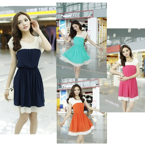 Korean Fashion Women Ladies Chiffon Dress Petal Sleeve Button Elastic Waist Mini One-piece Dark BlueApparel &amp; Jewelry<br>Korean Fashion Women Ladies Chiffon Dress Petal Sleeve Button Elastic Waist Mini One-piece Dark Blue<br>