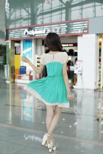 Korean Fashion Women Ladies Chiffon Dress Petal Sleeve Button Elastic Waist Mini One-piece Light GreenApparel &amp; Jewelry<br>Korean Fashion Women Ladies Chiffon Dress Petal Sleeve Button Elastic Waist Mini One-piece Light Green<br>