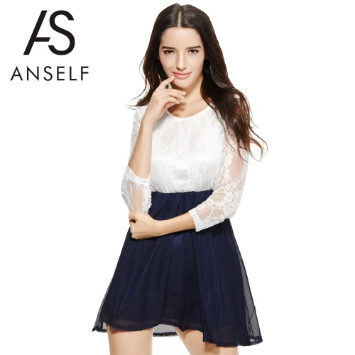 Sexy Fashion Summer Women Ladies Chiffon Dress Lace Top Mini Dress Skater Cute Casual White &amp; Dark BlueApparel &amp; Jewelry<br>Sexy Fashion Summer Women Ladies Chiffon Dress Lace Top Mini Dress Skater Cute Casual White &amp; Dark Blue<br>