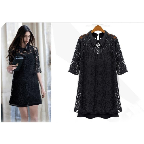 New Fashion Summer Womens Dress Lace Hollow Out Half Sleeve Casual Party BlackApparel &amp; Jewelry<br>New Fashion Summer Womens Dress Lace Hollow Out Half Sleeve Casual Party Black<br>