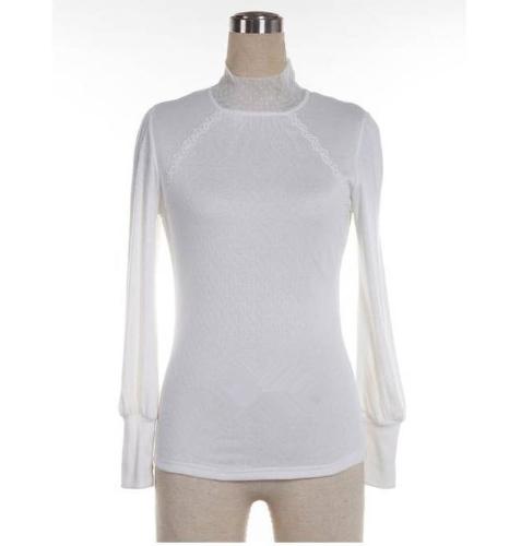 Women Autumn T-shirt Lace Turtleneck Long Sleeve Slim Fit Under Top T Shirt WhiteApparel &amp; Jewelry<br>Women Autumn T-shirt Lace Turtleneck Long Sleeve Slim Fit Under Top T Shirt White<br>