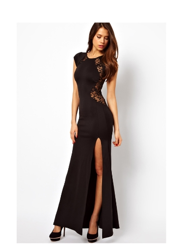 Women Sexy Maxi Dress Lace See-through Back Slim Bodycon Fishtail Split Long Party Dress BlackApparel &amp; Jewelry<br>Women Sexy Maxi Dress Lace See-through Back Slim Bodycon Fishtail Split Long Party Dress Black<br>